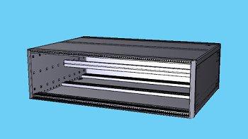 Tischgehäuse 3HE,84TE,T375 mm,