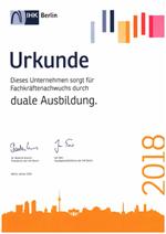 Urkunde IHK duale Ausbildung